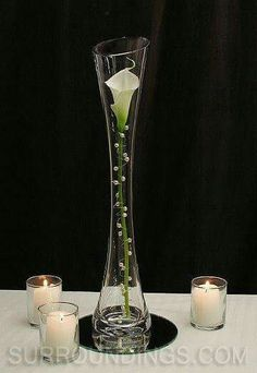 Pearled calla lily in Maria vase candle centerpiece wedding arrangement ikebana Candle Centerpieces, Wedding Centerpieces, Wedding Table, Wedding Decorations, Calla Centerpiece, Wedding Ideas, Simple Centerpieces, Graduation Centerpiece, Quinceanera Centerpieces