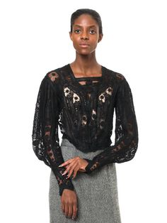 1880s Vintage Romantic Black Victorian Blouse  par MORPHEWCONCEPT