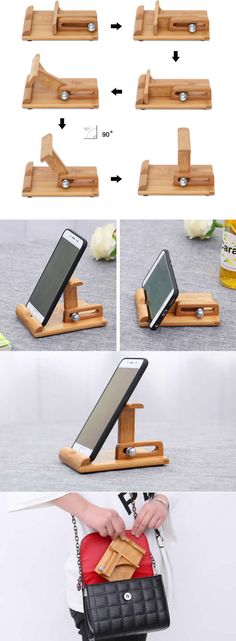 Foldable and Portable Bamboo Wooden Adjustable Multi-Angle Cell Phone iPhone iPad Folding Stand Holder for Apple iPhone iPad & Smart Phone