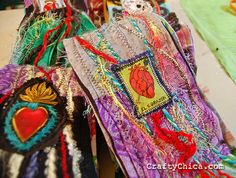 mexi-inspired scarves made from recycled tees and yarn scraps.