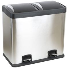 DOUBLE/RECYCLING PEDAL BIN TWIN COMPARTMENT 48L RUBBISH/WASTE 48 LITRE STAINLESS