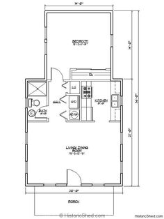 One Bedroom House Floor Plans one bedroom, 1.5 bath cabin with wrap around porch and screened