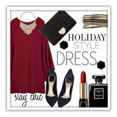 """Holiday Style: Oversized Dresses"" by danielle-broekhuizen ❤ liked on Polyvore featuring Christian Dior, Bebe, Dune, Mio, Charlotte Russe, Janna Conner Designs, Chanel, Lancôme, Christmas and chic"