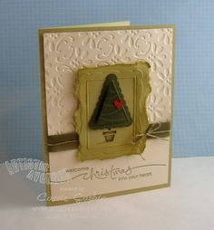 by Carrie Gaskin, Artistic Avenger Stampin Up Pennant Parade Christmas card and designer embossed frames.