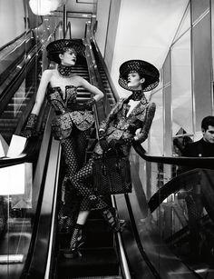 #IrinaKravchenko & #MeghanCollison #fashion #editorial 'The Art of Shopping' by Mikael Jansson for Interview, March 2013. wearing #AlexanderMcQueen.  #photography #moda #fotografia