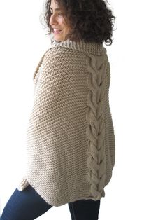 ON SALE Plus Size Hand Knitted Ecru Poncho with Leather by afra #etsy