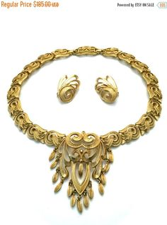 """Monet """"Rococo"""" Goldtone Necklace and Earring Demi Parure, Wedding Jewelry, Vintage Bridal, Special Occasion Set, Book Piece"""