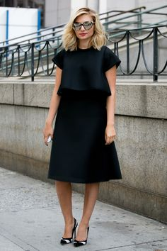 A billowy LBD + bold cat eye sunnies #streetstyle