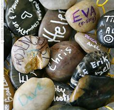 guests sign rocks rather a book then they place them into a container.  Gorgeous idea for a christening, naming ceremony, 21st, special occasion - anything!  My daughter would  love to do this for each birthday party too ....