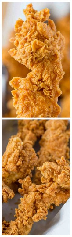 Super Crispy Chicken Tenders ~ Made with a buttermilk marinade that makes them really tender and the crispiest crust with KFC flavored spices.