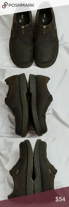 Merrell ortholite Brown slip on shoes Merrell ortholite Brown slip on Rubber Soul shoes no realwear On The Soles have a stretchy top material on the tops so that you can slip them on and off and those stretch to fit in a dark brown very nice stitching. If you have any questions please feel free to ask and I will be happy to answer. Merrell Shoes Loafers & Slip-Ons