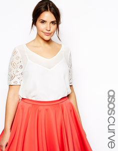 ASOS CURVE - Lace Sleeve Top