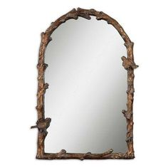 Uttermost Paza Bird & Vine Arched Wall Mirror - 25.5W x 36.75H in. - 13774