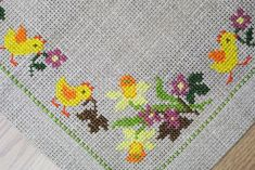 Vintage handmade cross-stitch embroidery thicker linen aida fabric table-cloth w easthern flower/ chicken motive on beige bottomcolor Mini Cross Stitch, Cross Stitch Borders, Cross Stitch Designs, Cross Stitching, Cross Stitch Embroidery, Hand Embroidery, Cross Stitch Patterns, Knitting Patterns Free Dog, Embroidery Patterns Free
