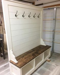 Awesome Builds - Shiplap hall tree bench. #shiplap #halltree #customfurniture #bench