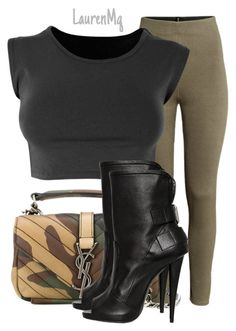 """""""Untitled #219"""" by laurenmq ❤ liked on Polyvore featuring H&M, Yves Saint Laurent, Giuseppe Zanotti, women's clothing, women's fashion, women, female, woman, misses and juniors"""