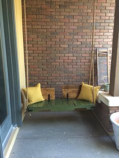 Porch swing - All About Balcony Terrace Decor, Small Balcony Decor, Balcony Design, Terrace Garden, Balcony Ideas, Indoor Swing, Porch Swing, Apartment Balcony Decorating, Porch Decorating