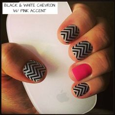 Black & White Chevron with Pink accent www.jendahnert.jamberrynails.net
