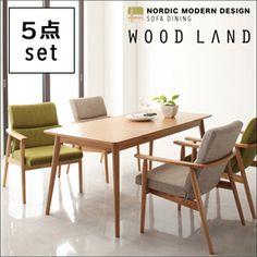 天然木北欧スタイルソファダイニング【WOOD LAND】ウッドランド/5点セット【楽天市場】