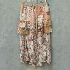 Ruffled Floral Patchwork and Lace Upcycled Vintage Boho Skirt Charlotte Self