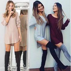 Fashion Women Sexy Dress Long Sleeve Cotton Loose Blouse Casual Short New Dress | eBay