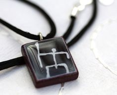 Koa Kane Warrior Hawaiian Petroglyph Pendant Necklace