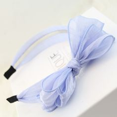 [$3.86] (3 Total) Multilayer Organza Bow Hair Bands (Colour: Light Blue)