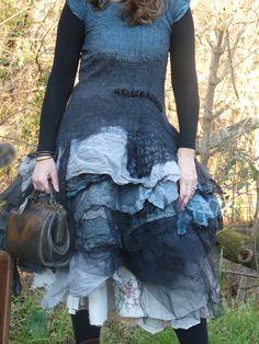 Sur commande robe en laine feutrée organdi etc...