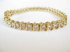 Classic S type 14 K yellow gold diamond  Tennis Bracelet
