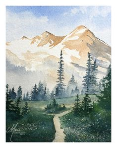 35 Easy Watercolor Landscape Painting Ideas To Try - Cartoon District Watercolor Landscape Paintings, Watercolor Trees, Watercolor Background, Watercolor Animals, Abstract Watercolor, Mountains Watercolor, Oil Paintings, Landscape Artwork, Watercolor Artists