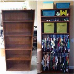 This would be an amazing DIY 'maybe find an old bookshelf from a yard sale and some pipe. Super simple. I think we will try this.