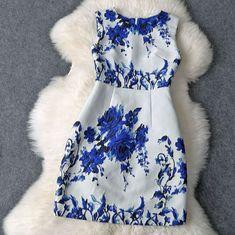 Elegant round neck sleeveless printed dress FG11102UY
