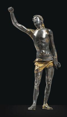 talie du Nord, fin XVe/début XVIe siècle  SAINT SÉBASTIEN  A NORTH ITALIAN, LATE 15TH/EARLY 16TH CENTURY SILVER AND SILVER-GILT FIGURE OF ST SEBASTIAN  Estimate  8,000 — 12,000  EUR  _1.jpg (1147×2000)
