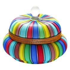 "6"" Fratelli Toso Murano Rainbow Colors Filigrana Ribbons Italian Art Glass hinged Box"