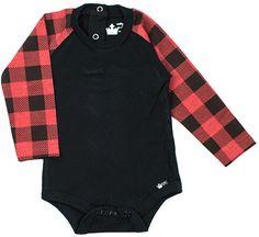 Black & Red Buffalo Checker Raglan Bodysuit - Infant