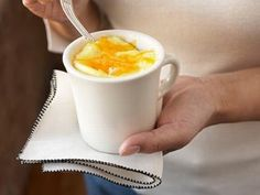 breakfast in a mug-- 2 eggs. 2 Tbsp milk. 2 Tbsp shredded cheddar cheese. salt. pepper. Microwave 45 seconds.