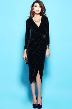 Deep V-neck Long Sleeve Velvet Dress OASAP.com