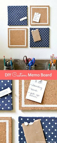 Get organized with a cute DIY Custom Memo Board! This easy to make DIY bulletin board is the perfect additon to a dorm room or any office space! Memo Boards, Diy Memo Board, Cute Bulletin Boards, Cork Boards, Office Memo, Diy Office Desk, Office Spaces, Kids Desk Organization, Diy Room Decor For Teens