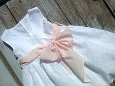 Baptism/Christening Dress, Broderie Anglaise White with Pink Belt