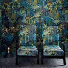 Cole and Son Miami Stof Katoen - Luxury By Nature Cole And Son, Chinoiserie Wallpaper, Fabric Wallpaper, South Beach, Art Deco Living Room, Miami, Contemporary Fabric, Color Box, Art Deco Design