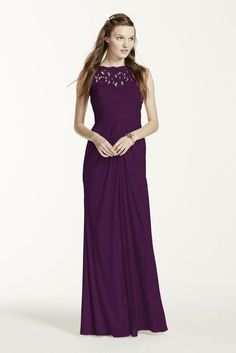 Sleeveless Long Mesh Bridesmaid Dress with Corded Lace Style F15749, Plum, 22