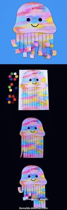 Bastelideen Art Elementary School - Watercolor Jellyfish - Make Film Play Kids Crafts, Daycare Crafts, Summer Crafts, Toddler Crafts, Toddler Fun, Daycare Ideas, Watercolor Jellyfish, Jellyfish Drawing, Jellyfish Painting
