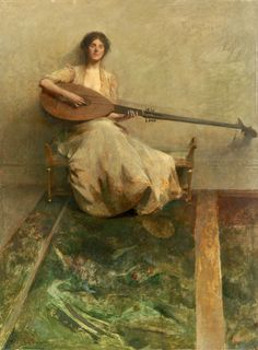 ♪ The Musical Arts ♪ music musician paintings - Thomas Wilmer Dewing   Girl with Lute