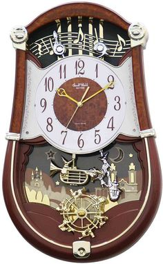 0-001832>Concerto Entertainer II Musical Wall Clock Wooden