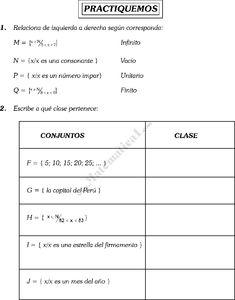 ARITMÉTICA Conjuntos * Idea de conjunto * Pertenencia y no ...
