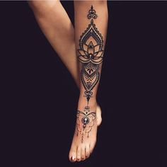 Tattoo Beine - Tattoos - Tattoo Designs for Women Tattoo Henna, Unalome Tattoo, Henna Tattoo Designs, Ankle Tattoo, Tattoo Designs For Women, Arm Tattoo, Mandala Tattoo Leg, Tattoo Bein Frau, Tattoos Bein