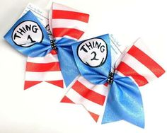 Bows by April - Thing 1 and Thing 2 Blue and Red Striped Cheer Bow Set, $28.00 (http://www.bowsbyapril.com/thing-1-and-thing-2-blue-and-red-striped-cheer-bow-set/)