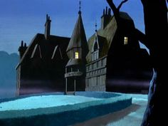 I think I recognized every one of these background paintings from Scooby Doo (this one is from the intro - just imagine the bats flying across the screen).  They were painted by former Disney and Hanna-Barbera artist Walt Peregoy.  Hauntingly beautiful!