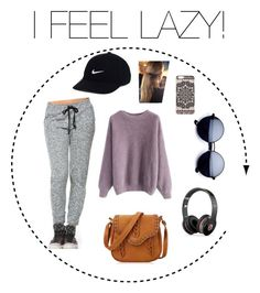 """""""I FEEL LAZY!"""" by ella-rharper on Polyvore featuring Chicwish, NIKE, Beats by Dr. Dre, New Look and Balmain"""