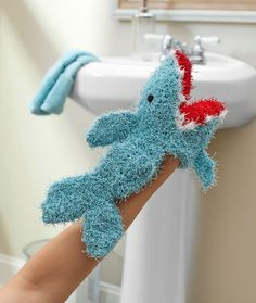 Shark Puppet Scrubby - Red Heart  - free pattern